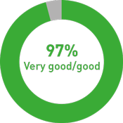 Graphic: Visitors' overall assessment 97% very good/ good